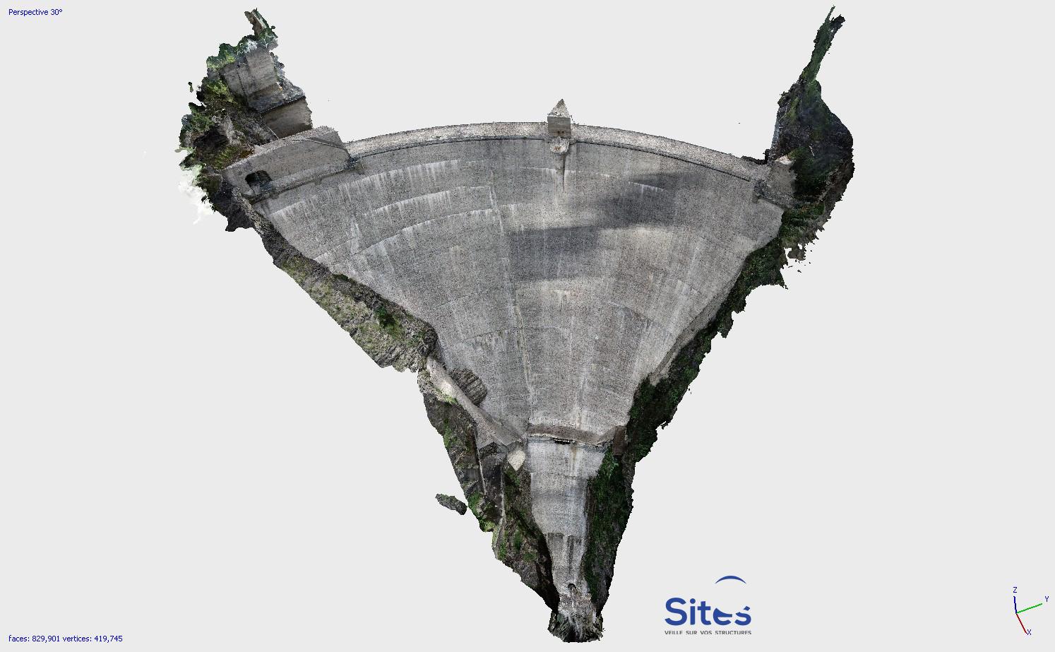 Modèle 3D de la face aval du Barrage du Sautet